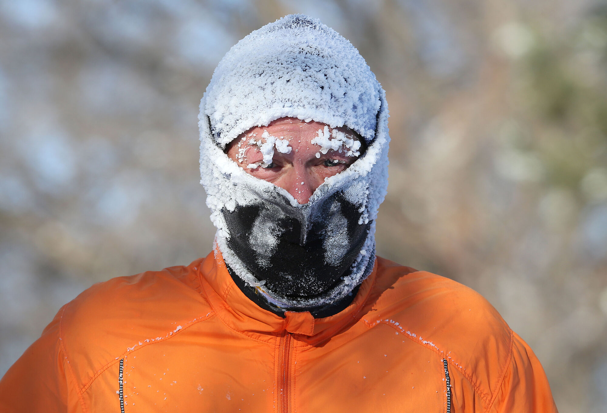 Manitobans broke a record for energy consumption during the bone-chilling cold in December. Sheldon Reynolds frosts up during his two-hour run at Kildonan Park Sunday.