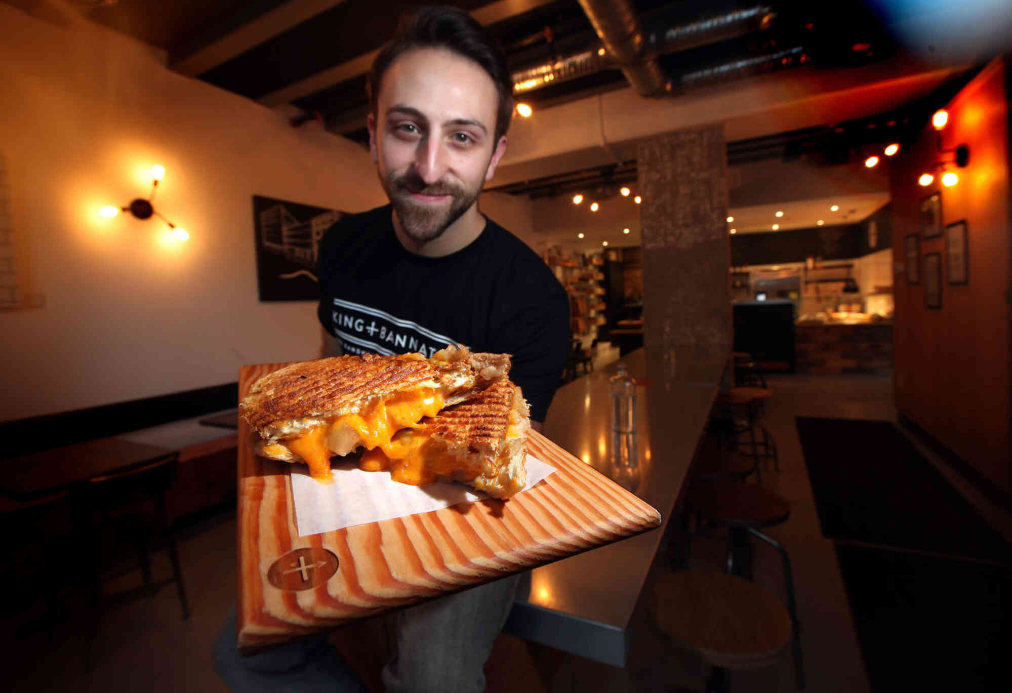 King + Bannaytne's Mike Del Buono shows off the 'Apple Pie' grilled cheese.