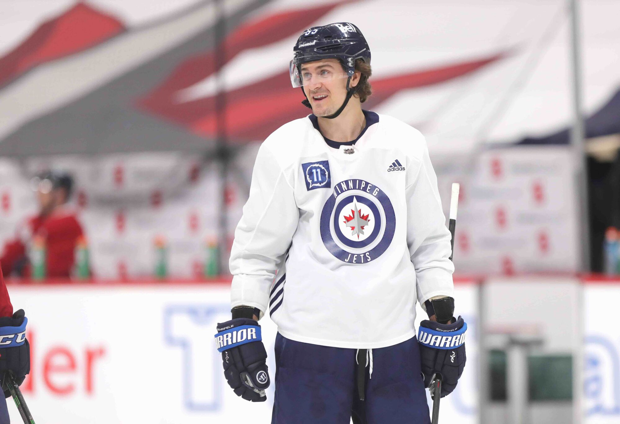 Mark Scheifele on the ice during practice at Bell MTS Place Monday.