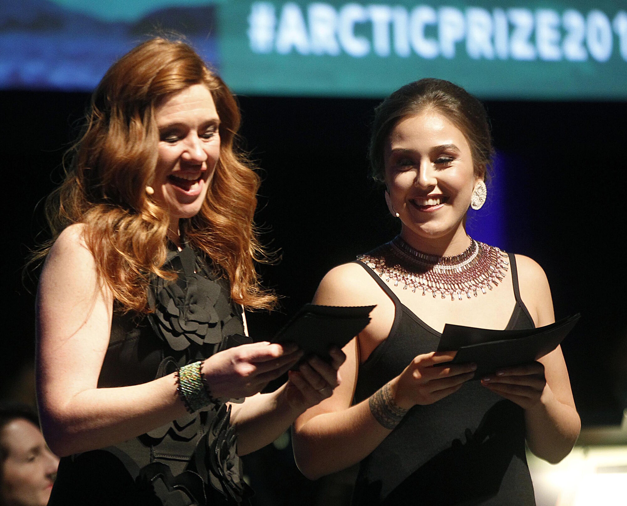 PHIL HOSSACK / WINNIPEG FREE PRESS</p> Masters of ceremonies Olympian Clara Hughes (left) and Nunavik youth Andrea Brazeau December open the evening's performances at the Arctic Inspiration Prize Gala Thursday evening at the Centennial Concert Hall.