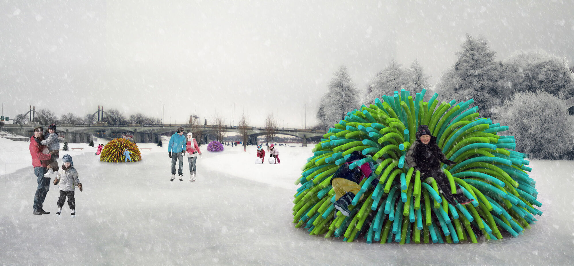 Nuzzle, a shelter made up and hundreds of brightly coloured pool noodles.