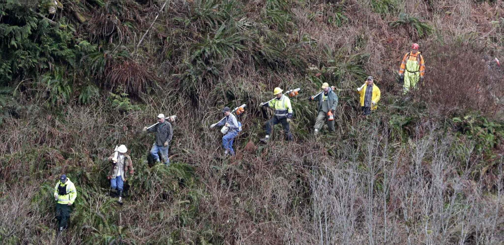 Volunteers with chainsaws march down a rugged path toward the scene of the deadly mudslide that hit Saturday.  (Elaine Thompson / The Associated Press )