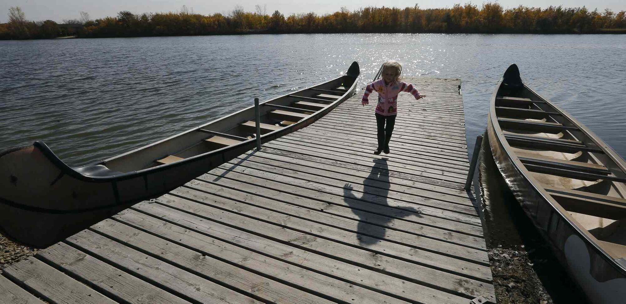 Docks are a starting point for canoeing or fishing, an entirely different fall activity.