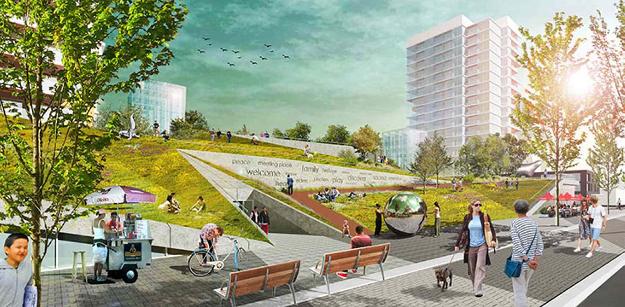 Proposal for Rail Side public space.