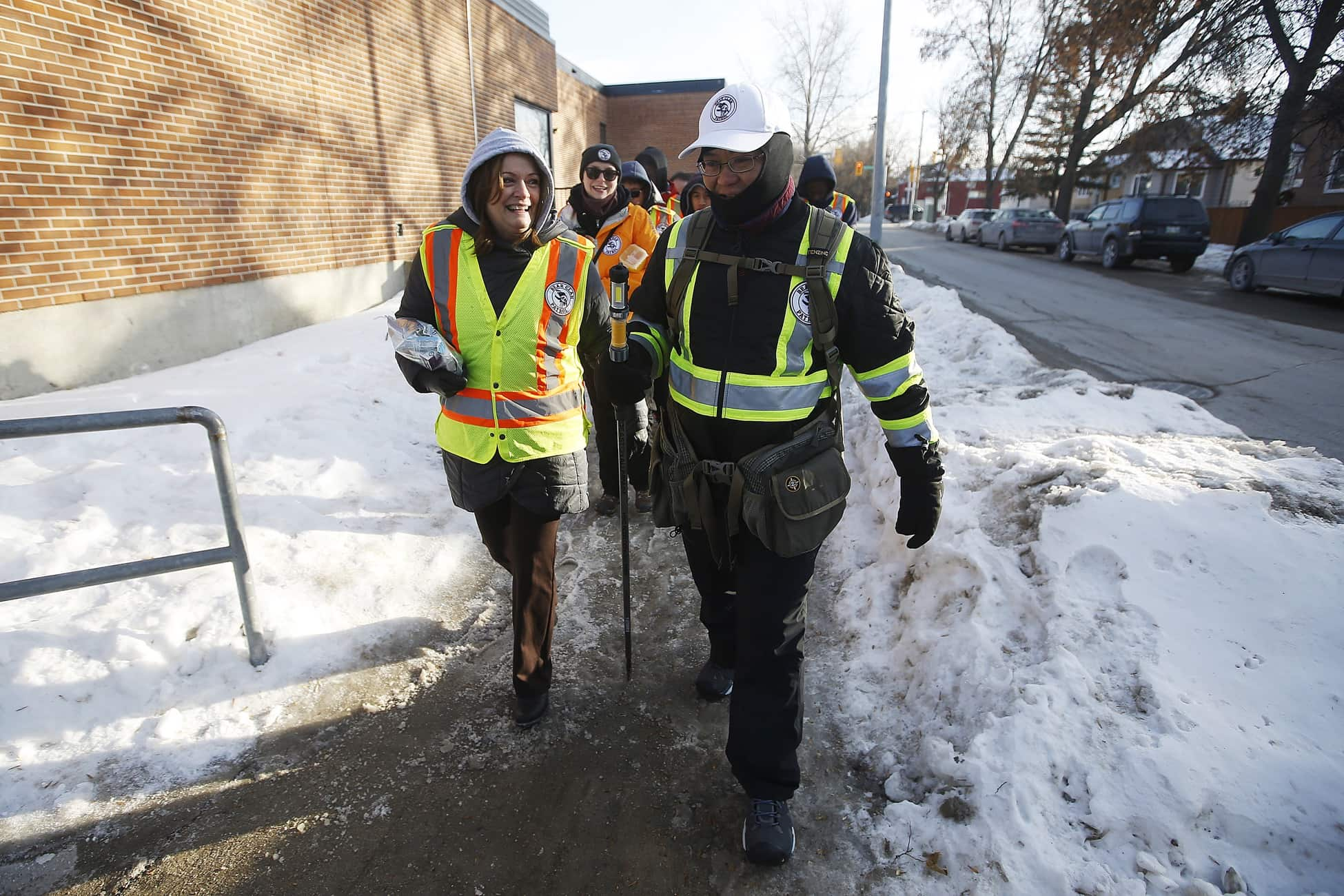Students from General Wolfe School participated in a youth mock patrol with the Bear Clan Patrol and Winnipeg police on Ellice Ave. in Winnipeg. (John Woods / Winnipeg Free Press)