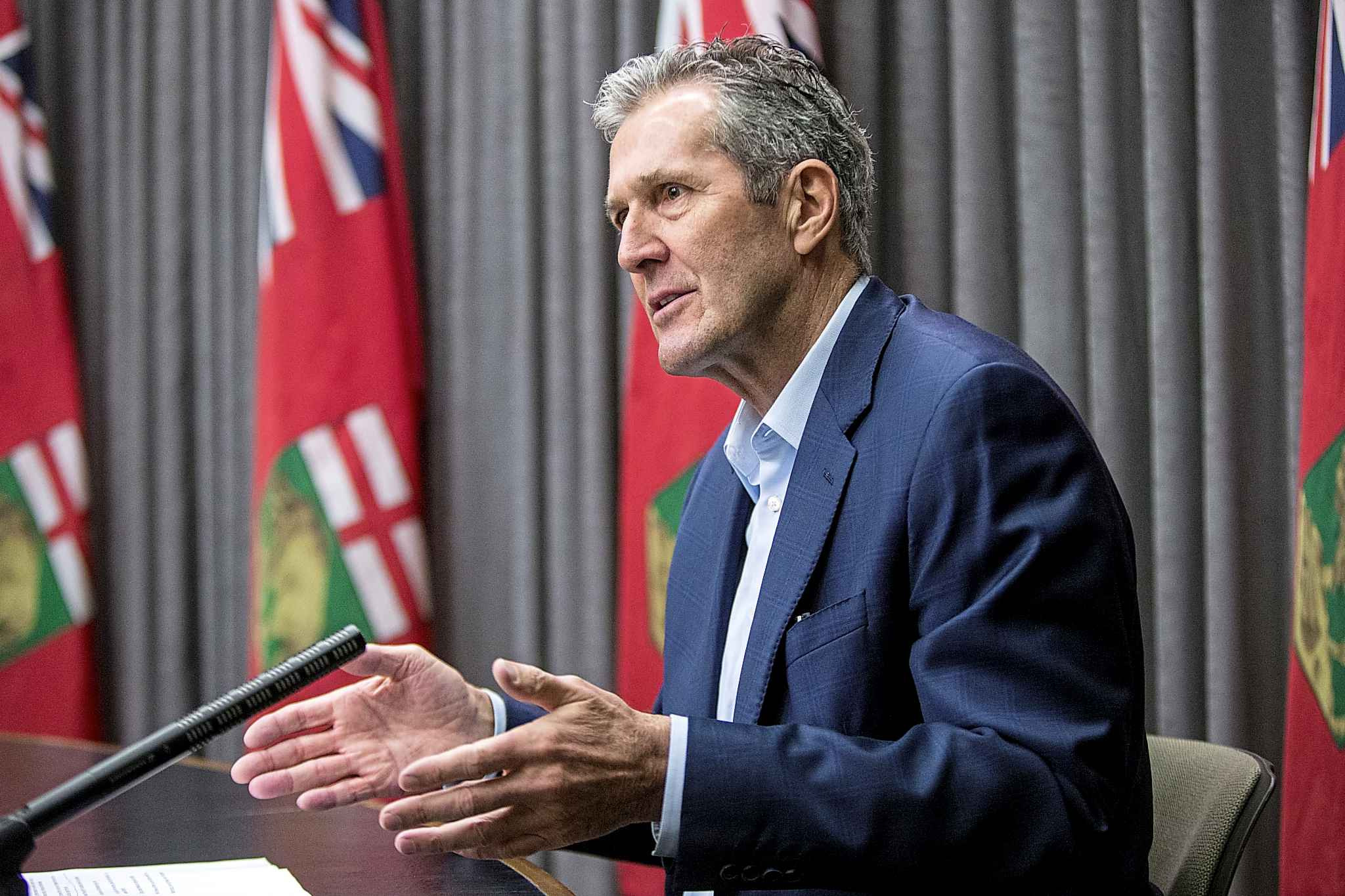 MIKAELA MACKENZIE / WINNIPEG FREE PRESS  Pallister stressed Friday he expects Manitobans will act in the public interest, and that his officials won't need to curtail civil liberties.