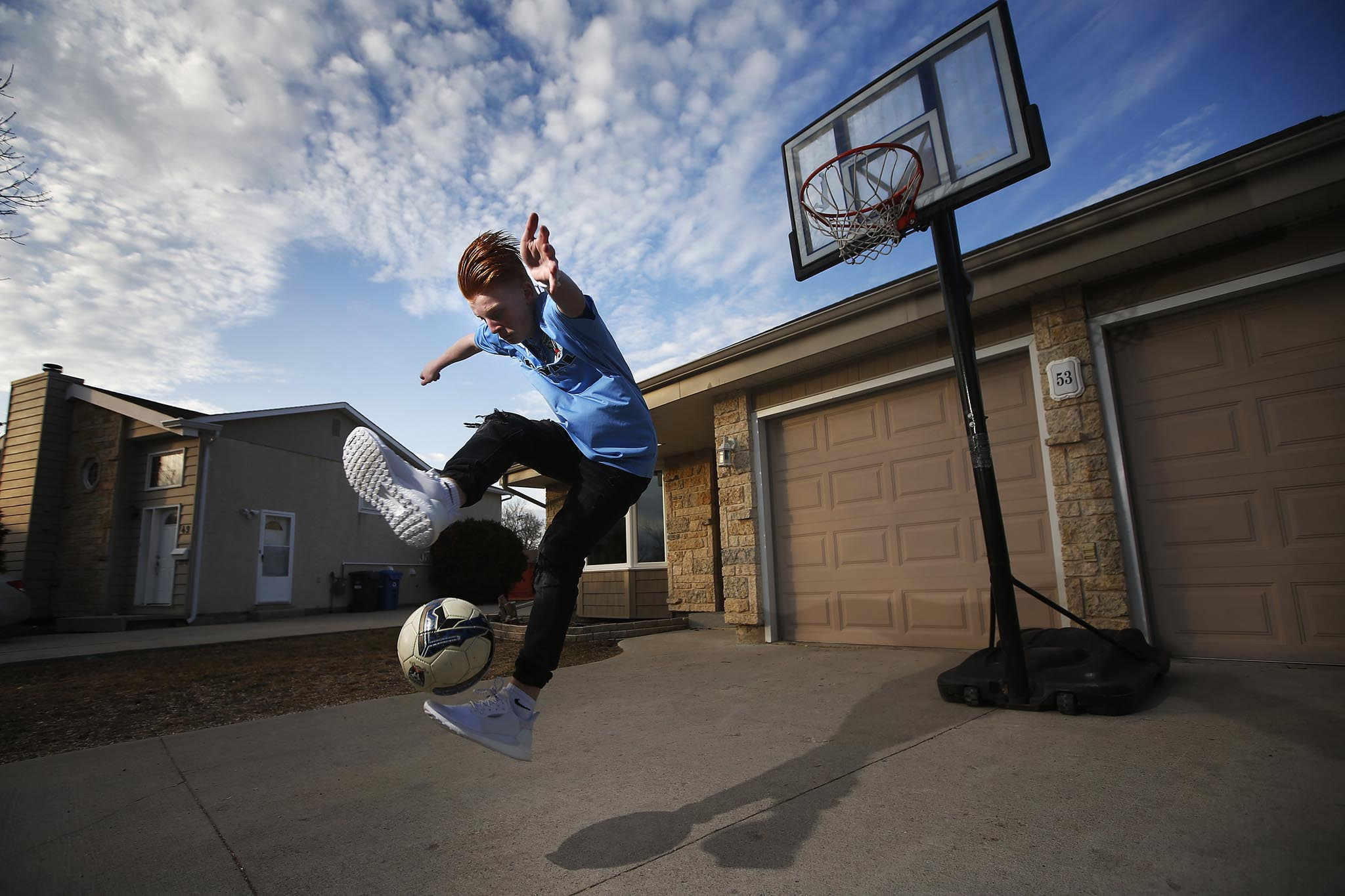 Ethan Hogsden, 15, is an elite soccer player in Winnipeg who normally trains with his Winnipeg Phoenix (under-17) teammates and coaches four times a week in April.
