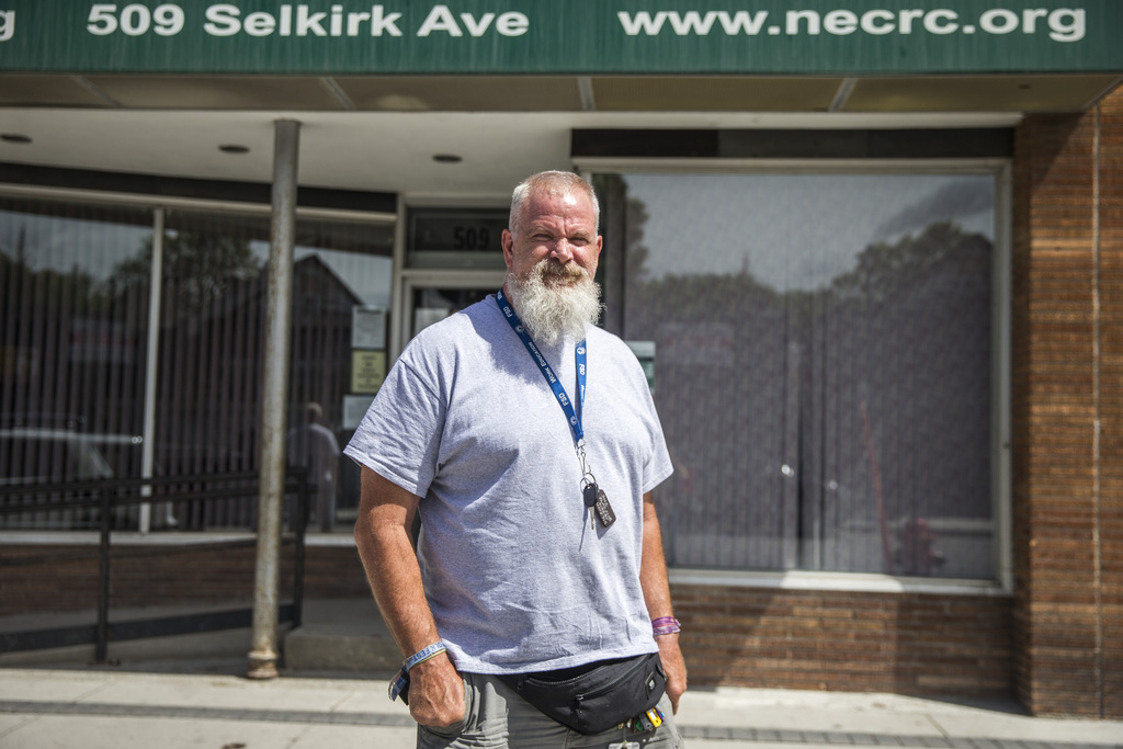 Order of Manitoba recipient Mitch Bourbonniere in front of the North End Community Renewal Corporation, one of the many places he volunteers. (Mikaela MacKenzie / Winnipeg Free Press)