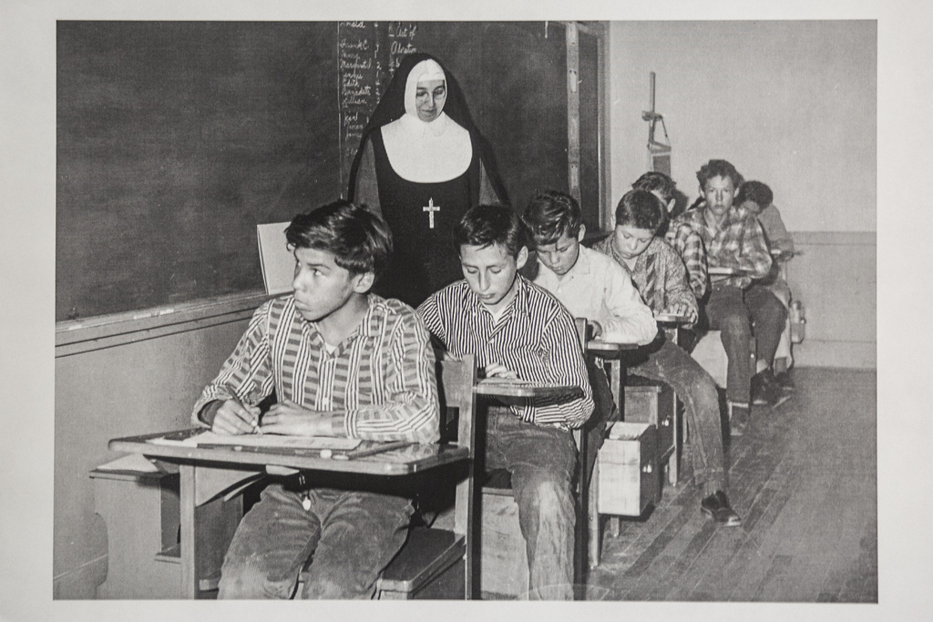 A historical photo of a residential school (unknown location) at the Long Plain First Nation residential school museum in Portage la Prairie. (Winnipeg Free Press files)