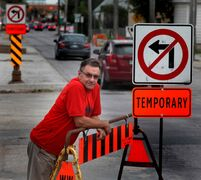 Geoff Hayden says construction in front of his store has been a burden for him and his customers.
