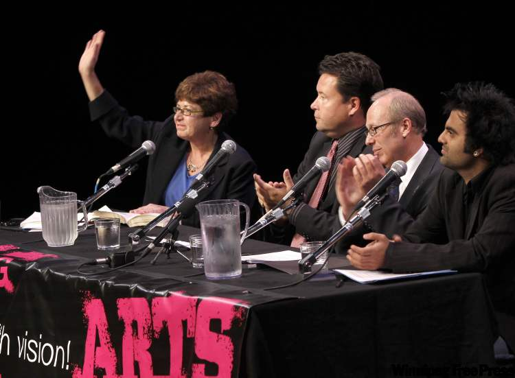 Judy Wasylycia-Leis, Brad Gross, Sam Katz and Rav Gill are introduced at the start of the mayoral forum on arts and culture on Tuesday.