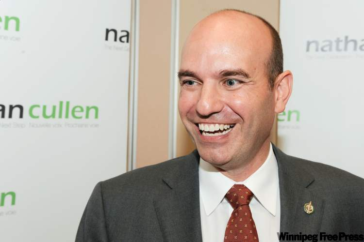 Federal NDP candidate MP Nathan Cullen speaks to the media after announcing that he will run for leadership of the party Friday, September 30, 2011 in Vancouver.