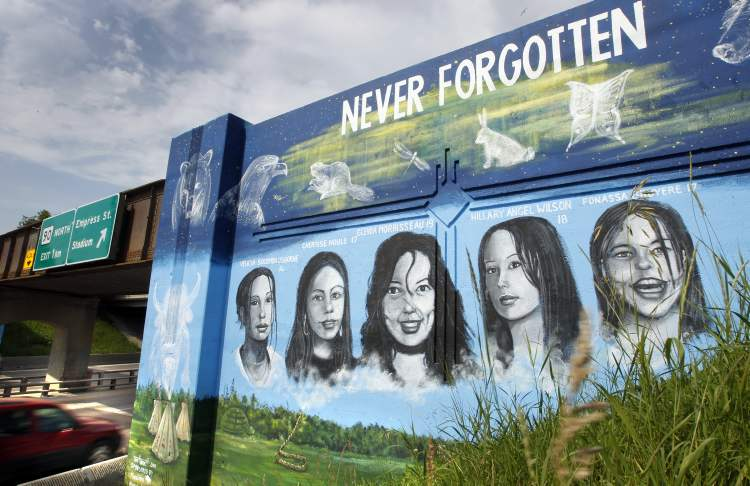 A mural on the rail bridge over Portage Avenue depicts murdered Manitoba aboriginal women and another mural on the south side shows portraits of missing Manitoba aboriginal women. The 8th annual Women's Memorial March of Manitoba will take place at the University of Winnipeg on Valentine's Day.