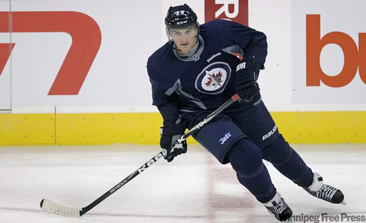 Forward Brett MacLean during a past Winnipeg Jets practice.