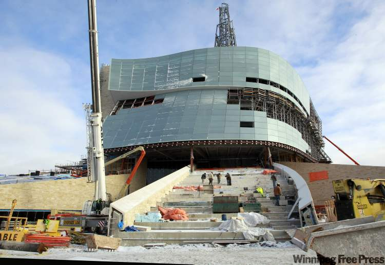 The sweeping front entrance of the Canadian Museum for Human Rights at The Forks is a work in progress.