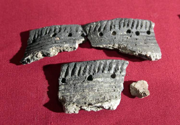 Pieces of pottery found during the archaeological excavations at the site of the Canadian Museum for Human Rights.