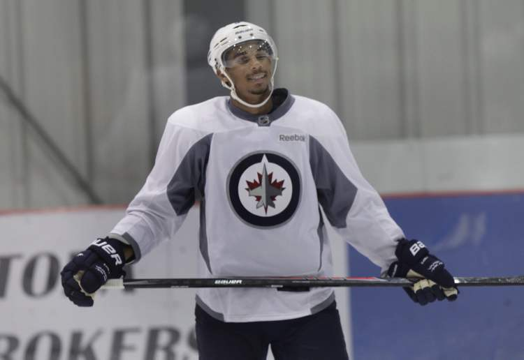 Evander Kane took in the skate at the MTS Iceplex Wednesday morning. (Wayne Glowacki / Winnipeg Free Press)