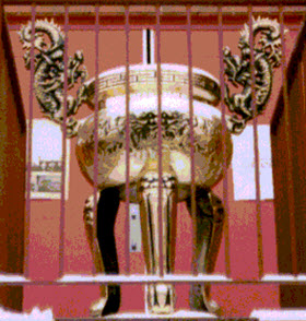 The decorative incense urn was stolen late Monday night from the Hausing Buddhist Temple.
