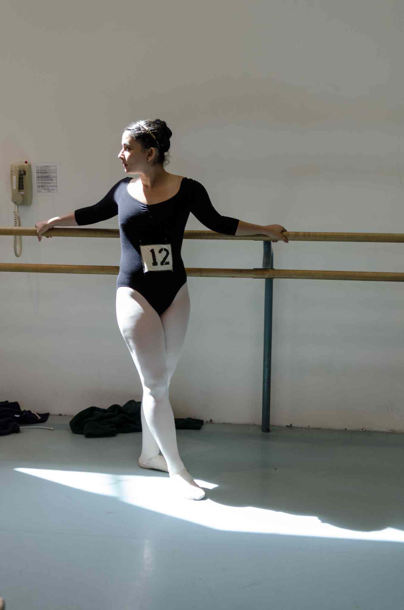 Adriana Ardila, 20, warms up before her audition.