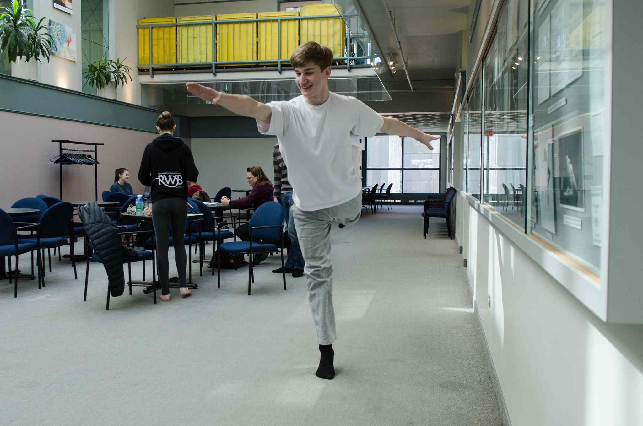 Madison Edbom, 17, jumps in the air after his audition at the Royal Winnipeg Ballet school.