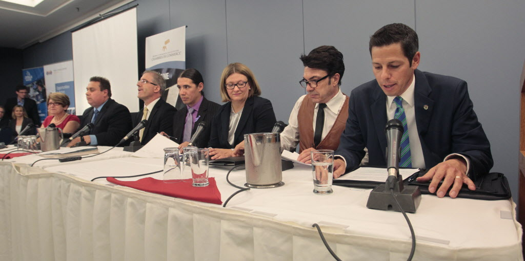 From right, mayoral candidates Brian Bowman, Michel Fillion, Paula Havixbeck, Robert-Falcon Ouellette, Gord Steeves, Michael Vogiatzakis, and Judy Wasylycia-Leis at the Chambre de commerce francophone de Saint-Boniface luncheon Wednesday.