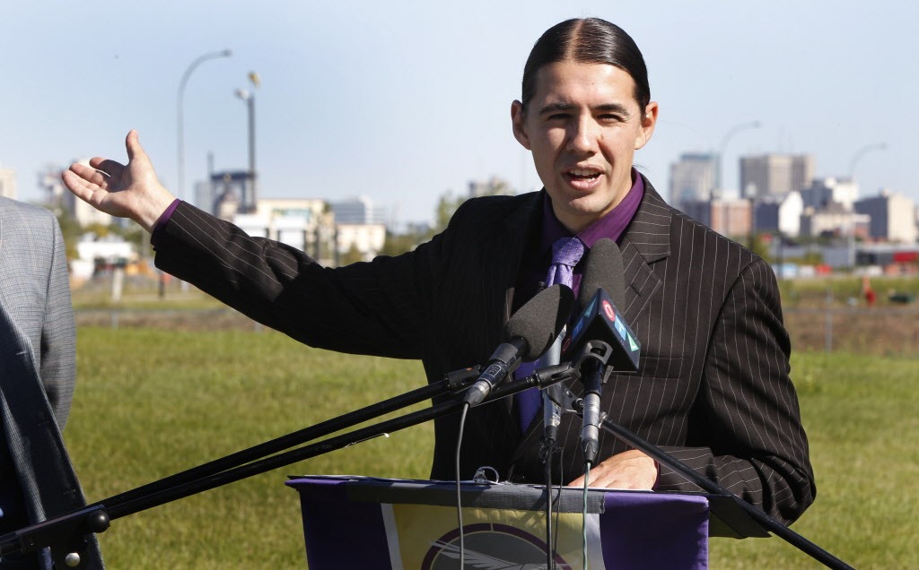 Mayoral candidate Robert-Falcon Ouellette makes his transit  announcement near the Jubilee Station.