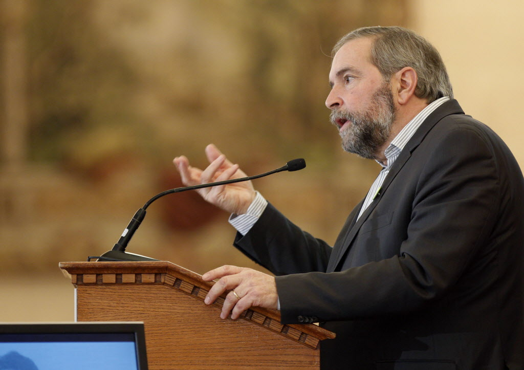 Thomas Mulcair got a standing ovation for his pledge to offer universal daycare.