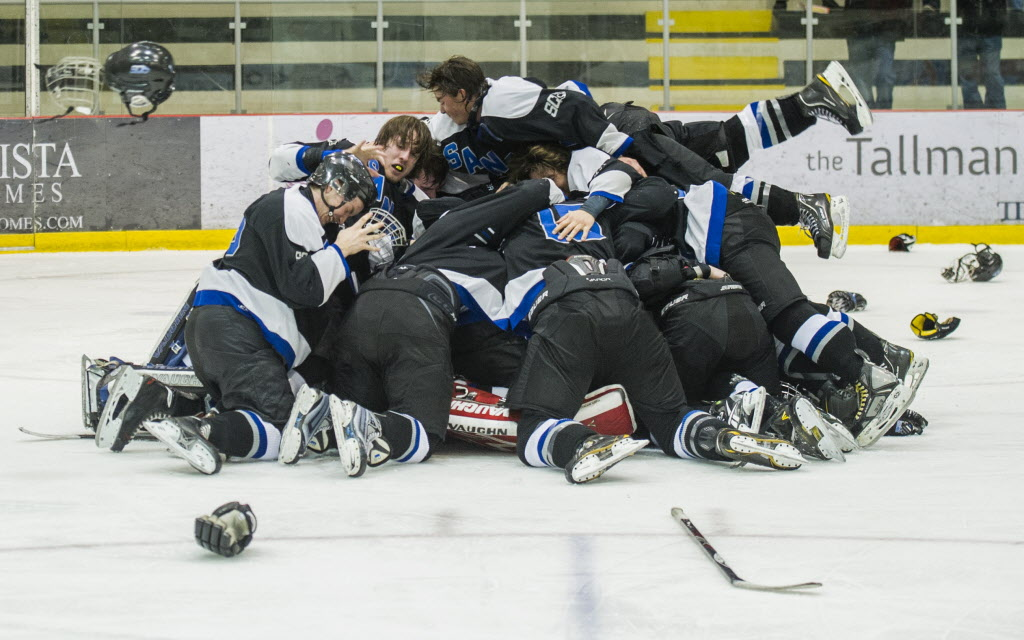 The Sanford Sabres pile on the love as they celebrate their win over the Lord Selkirk Royals.