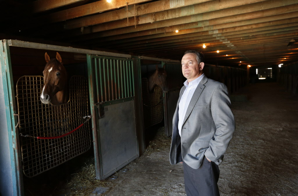 Darren Dunn, CEO of Assiniboia Downs, in one of the backstretch barns that needed to have a roof truss reinforced.