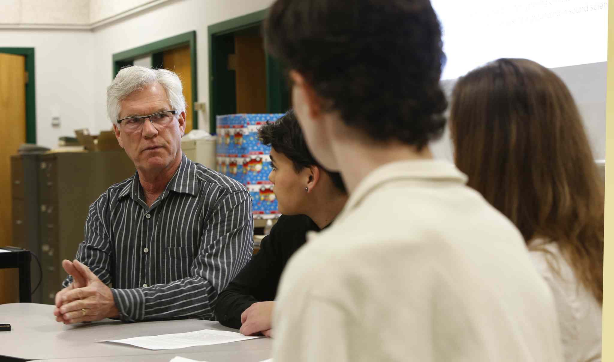 Jim Carr, Canadian Minister of Natural Resources, meets with the Kelvin High School Environmental Action Committee to discuss Canada's climate and environmental policy Friday morning.