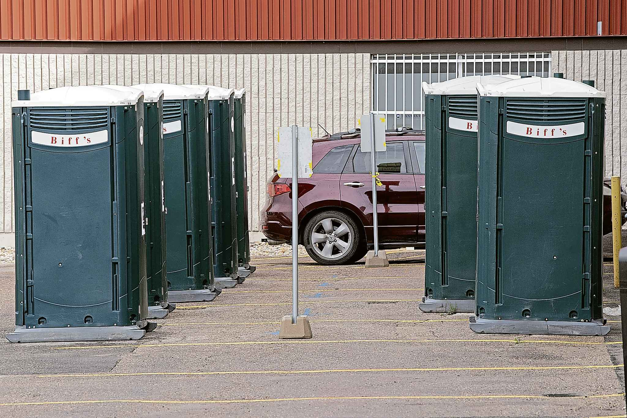 The outdoor portable toilets get cleaned every four days.