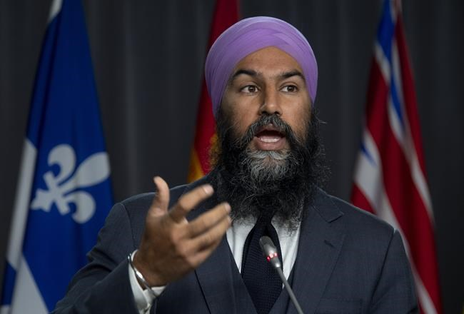 NDP leader Jagmeet Singh speaks during a news conference on Parliament Hill Thursday October 8, 2020 in Ottawa. THE CANADIAN PRESS/Adrian Wyld