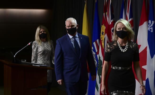 Conservative member of Parliament Michelle Rempel Garner, left to right, Conservative Leader Erin O'Toole and Conservative Deputy Leader Candice Bergen arrive to hold a press conference in Ottawa on Thursday, Oct. 22, 2020. THE CANADIAN PRESS/Sean Kilpatrick