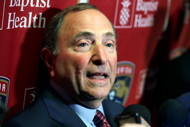 National Hockey League Commissioner Gary Bettman speaks to members of the media , on March 7, 2020, in Sunrise, Fla. THE CANADIAN PRESS/AP, Wilfredo Lee