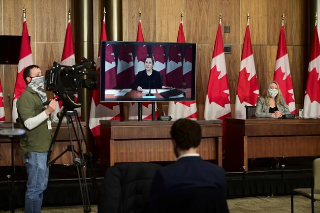Minister of Middle Class Prosperity and Associate Minister of Finance Mona Fortier holds a press conference as she is joined virtually by Minister of Finance Chrystia Freeland in Ottawa on Monday, Jan. 25, 2021. Lawmakers return to the House of Commons today following the winter break.THE CANADIAN PRESS/Sean Kilpatrick