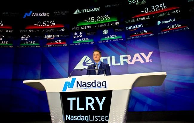 Brendan Kennedy, CEO and founder of British Columbia-based Tilray Inc., a major Canadian marijuana grower, poses before closing Nasdaq, where his company's IPO (TLRY) opened, on July 19, 2018, in New York. THE CANADIAN PRESS/AP, Bebeto Matthews