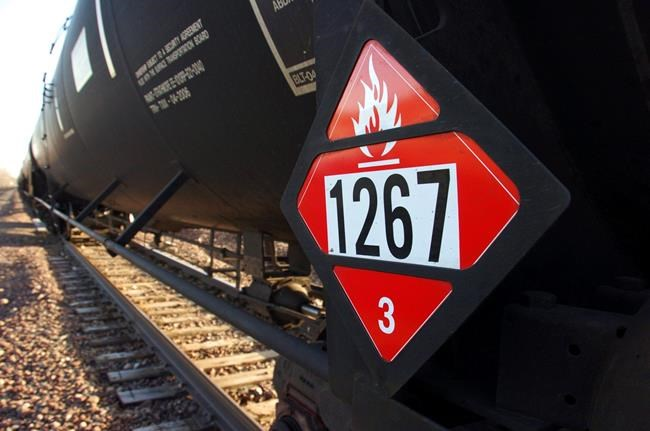 This Nov. 6, 2013, file photo, shows a warning placard on a tank car carrying crude oil near a loading terminal in Trenton, N.D.  THE CANADIAN PRSS/AP/Matthew Brown