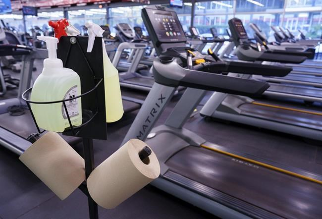 A hand sanitization station is seen at a gym in Montreal, on Oct. 26, 2020. THE CANADIAN PRESS/Paul Chiasson