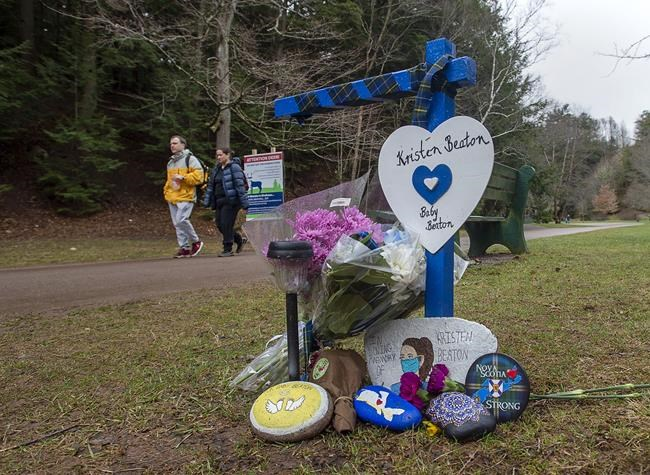 A tribute to Kristen Beaton and her unborn child is one of 22 along a memorial walk in Victoria Park to mark the one-year anniversary of the April 2020 murder rampage in rural Nova Scotia, in Truro, N.S. on Sunday, April 18, 2021. THE CANADIAN PRESS/Andrew Vaughan