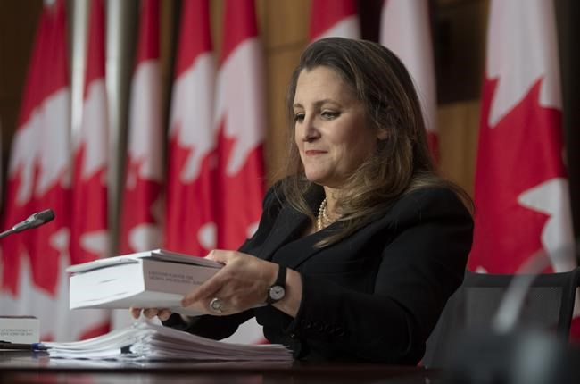 Minister of Finance Chrystia Freeland holds a copy of the budget as she packs up her papers at the end of a news conference in Ottawa, Monday April 19, 2021. Freeland will deliver the government's first budget since the COVID-19 pandemic began. THE CANADIAN PRESS/Adrian Wyld
