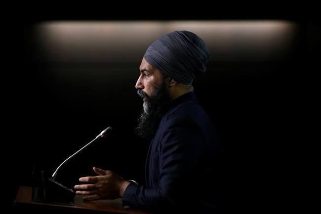 NDP Leader Jagmeet Singh speaks during a news conference as he reacts to the tabling of federal budget in Ottawa, on Monday, April 19, 2021. Singh says the spending plan tabled by Finance Minister Chrystia Freeland heavily borrows from the New Democrats promise in 2015 and 2019 to introduce universal childcare. THE CANADIAN PRESS/Justin Tang