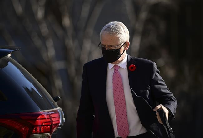 Transport Minister Marc Garneau arrives for question period in the House of Commons on Parliament Hill in Ottawa on Wednesday, Nov. 4, 2020. THE CANADIAN PRESS/Sean Kilpatrick
