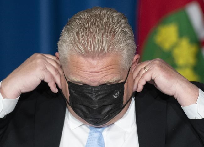 Ontario Premier Doug Ford puts his mask on at a press conference at the Ontario Legislature in Toronto, Thursday, May 13, 2021.THE CANADIAN PRESS/Frank Gunn
