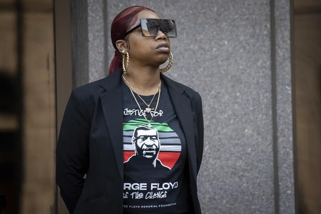 Bridgett Floyd, sister of George Floyd, attends a rally and march for the one year anniversary of George Floyd's death on Sunday, May 23, 2021, in Minneapolis, Minn. (AP Photo/Christian Monterrosa)