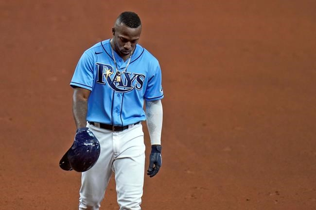 Tampa Bay Rays' Randy Arozarena reacts after being involved in a game-ending double play against the Kansas City Royals during a baseball game Tuesday, May 25, 2021, in St. Petersburg, Fla. The Rays loss to the Royals snaps an 11-game winning streak. (AP Photo/Chris O'Meara)