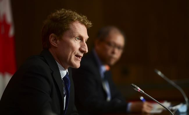 Marc Miller, Minister of Indigenous Services, and Dr. Tom Wong, Chief Medical Officer of Public Health, hold a press conference in Ottawa on Wednesday, June 2, 2021. THE CANADIAN PRESS/Sean Kilpatrick