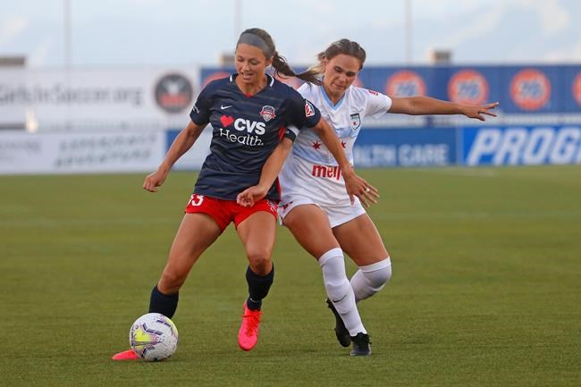 Chicago Red Stars' Bianca St. Georges, right, battles with Washington Spirit forward Ashley Hatch (33) during the first half of an NWSL Challenge Cup soccer match at Zions Bank Stadium, Saturday, June 27, 2020, in Herriman, Utah. nbsp; THE CANADIAN PRESS/AP-Rick Bowmer
