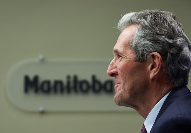 Manitoba Premier Brian Pallister speaks at a news conference after the 2021 budget was delivered at the Manitoba Legislative Building in Winnipeg on Wednesday, April 7, 2021. THE CANADIAN PRESS/David Lipnowski