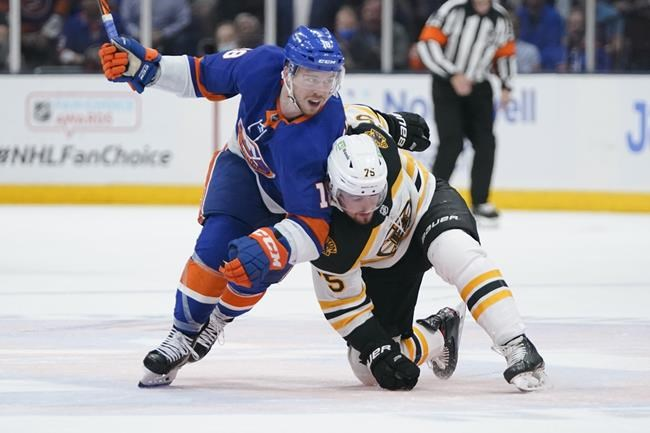 New York Islanders' Anthony Beauvillier (18) fights for position with Boston Bruins' Connor Clifton (75) during the second period of Game 6 during an NHL hockey second-round playoff series Wednesday, June 9, 2021, in Uniondale, N.Y. (AP Photo/Frank Franklin II)