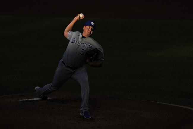 Kansas City Royals starting pitcher Brad Keller (56) pitches during the second inning of a baseball game against the Los Angeles Angels Wednesday, June 9, 2021, in Los Angeles, Calif. (AP Photo/Ashley Landis)